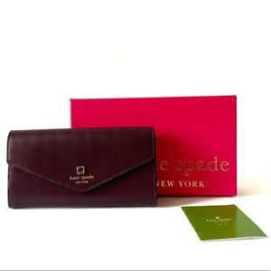 Kate Spade Burgundy & Pink Wallet Snap Closure